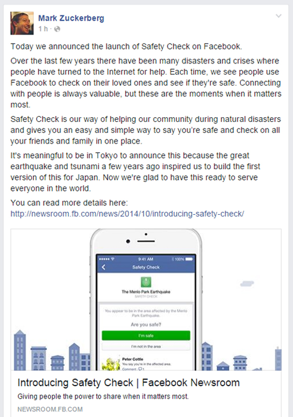 Su Facebook Zuckerberg lancia il Safety Check (1)