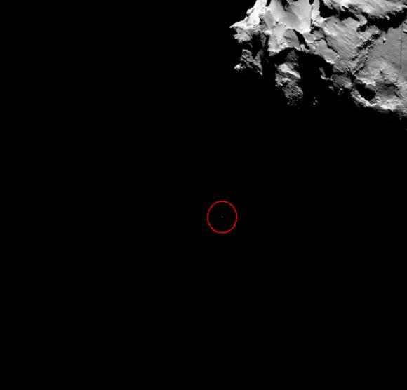 Discesa di Philae verso la cometa - Released 13/11/2014 1:48 pm - Copyright ESA/Rosetta/MPS for OSIRIS Team MPS/UPD/LAM/IAA/SSO/INTA/UPM/DASP/IDA