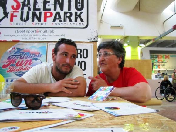 Titti Stoppa insieme a Marcello Ostuni, presidente del Salento Fun Park