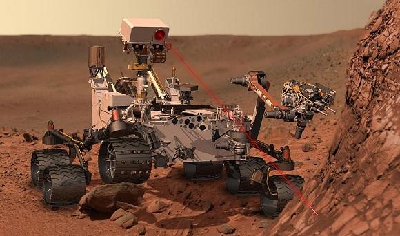 Resa artistica di Curiosity su Marte. Da Wikipedia.