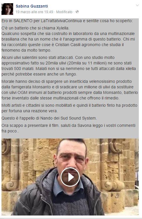ScreenShot dalla pagina facebook di Sabina Guzzanti