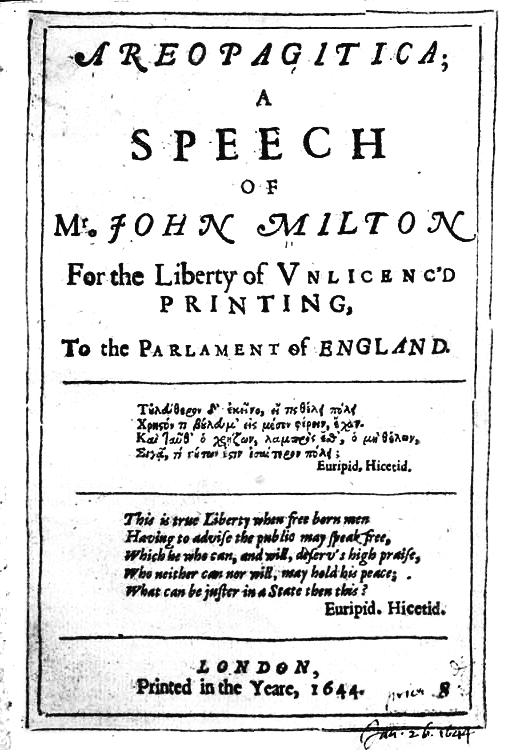 """Prima pagina dell' """"Aeropagitica"""" di Jhon Milton, libello in difesa della libertà di stampa (1644)"""