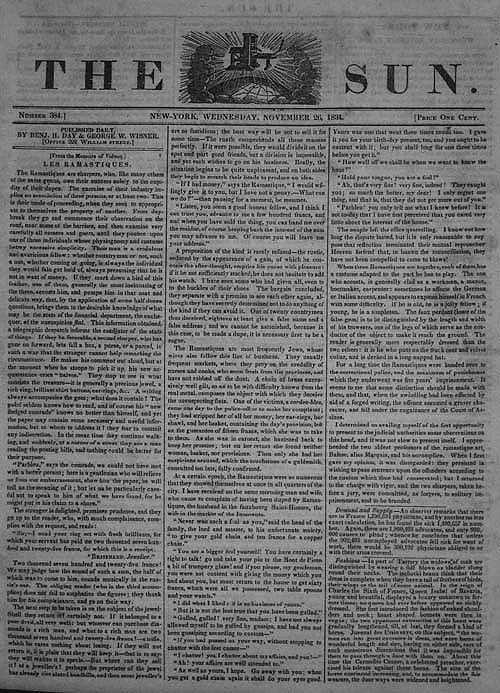 """Prima pagina del """"Sun"""" del 26 novembre 1834. Il """"Sun"""", fondato un anno primo, è il primo quotidiano inteso in senso moderno."""