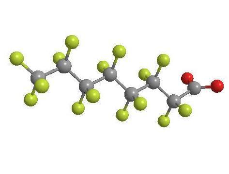 Struttura molecolare dell'acido Perfluoroottanoico - Immagine dall'ISS