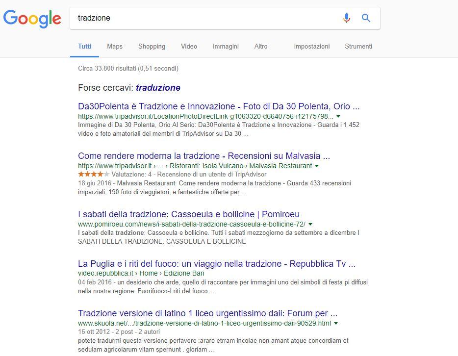 Filologia, errore, ricerca su Google e SEO