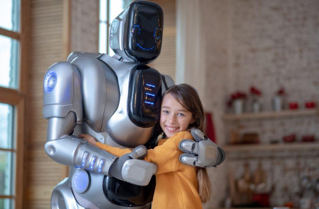 robot abbraccia bimba umanizzazione dei robot