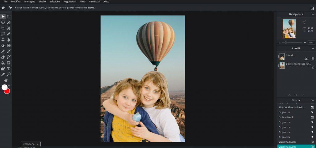 cambiare o sfondo a una foto con pixlr